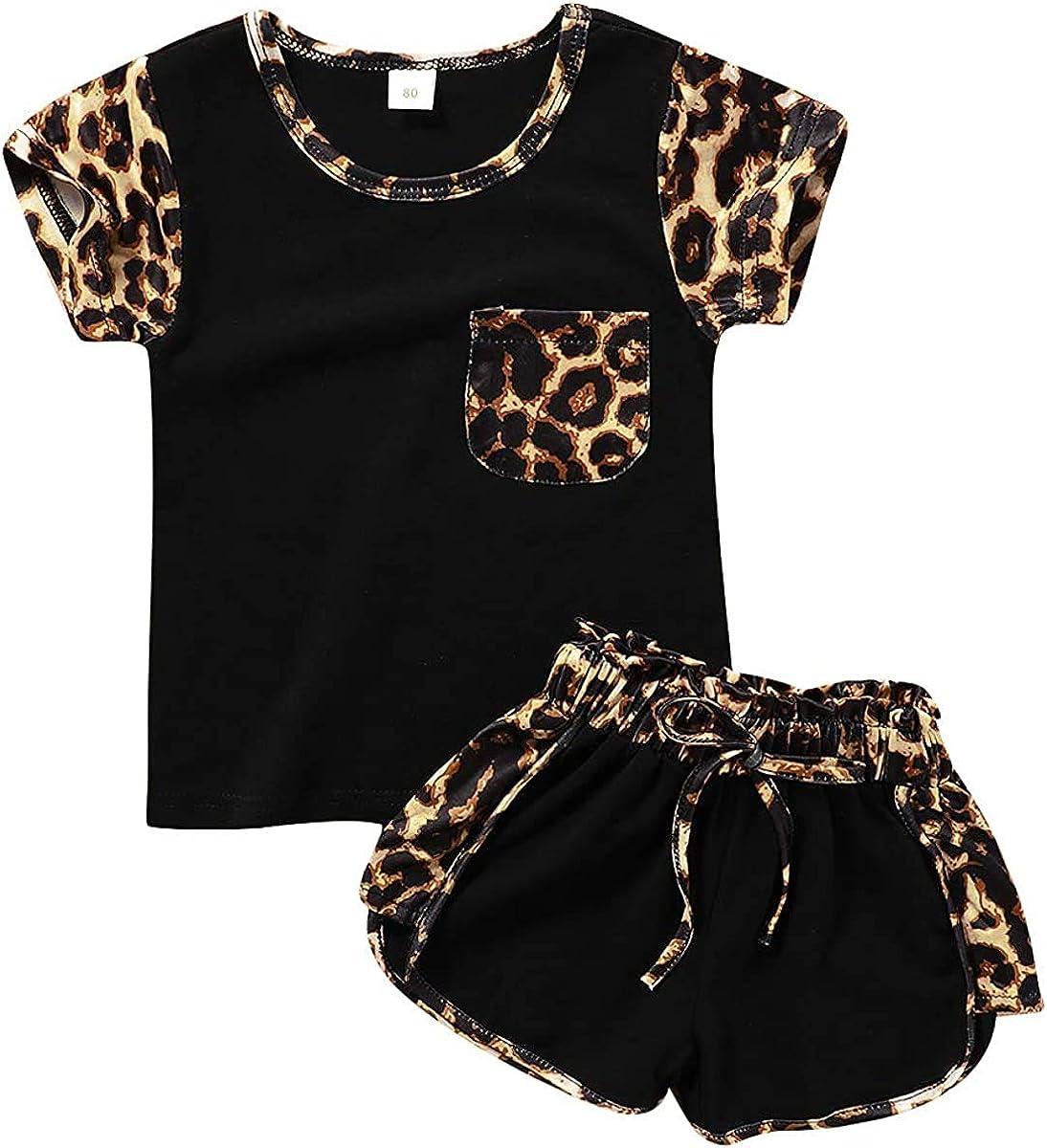 Leopard Shorts Pants Summer Outfits Set Toddler Kids Baby Girl Clothes Short Sleeve Pocket Top T Shirt