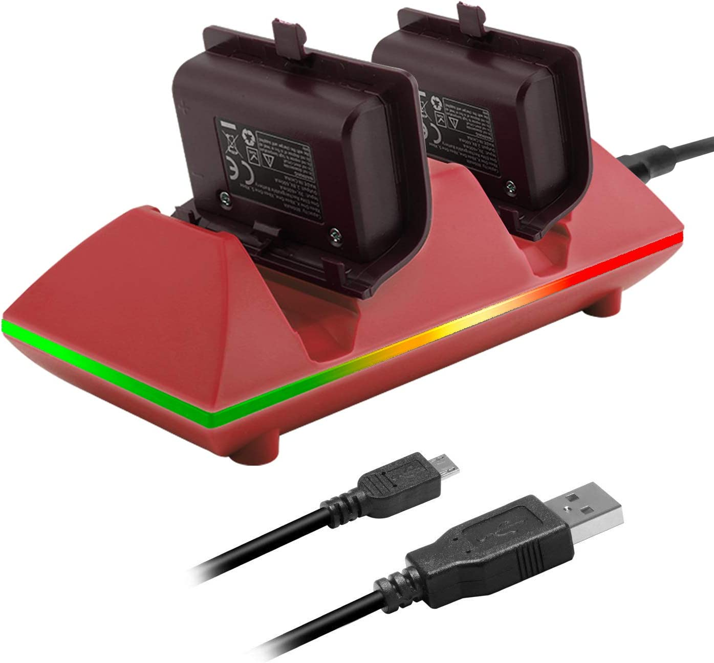 MoKo Xbox One/One S Controller Charger Dock Kit 2 x 800mAh Rechargeable Battery Packs Charging Station for Xbox One One S One X Xbox One Elite Controllers - Red