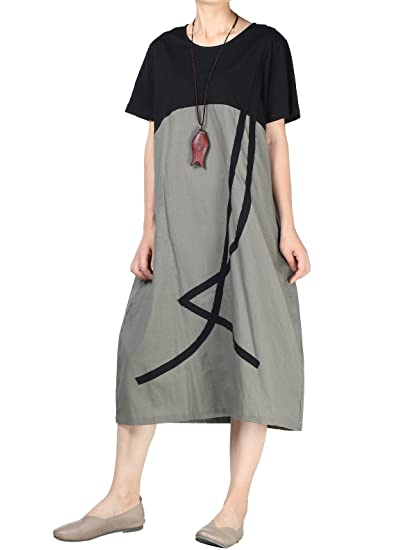 5a3a0a6ac11f3 Mordenmiss Women's Color Block T-Shirt Dress Cotton Linen Summer Dresses  with Pockets