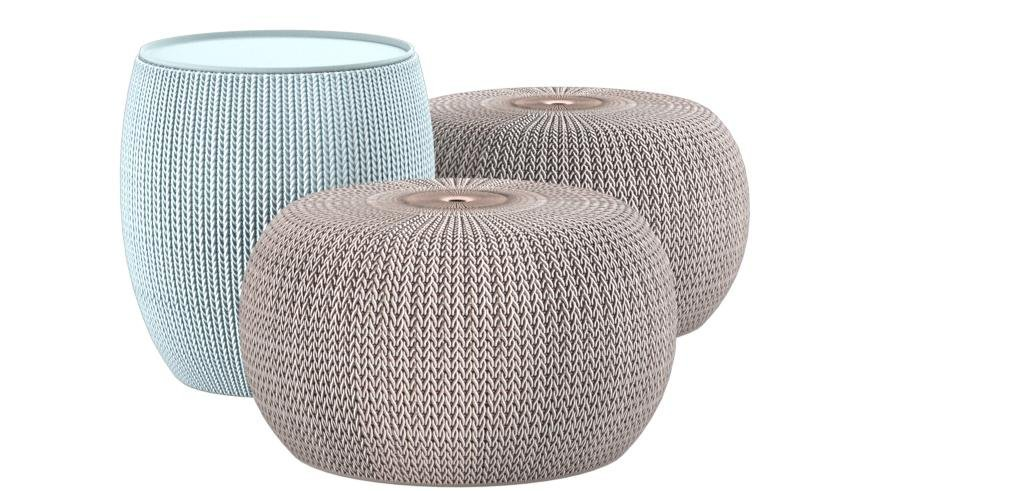 Keter 40 Urban Knit Pouf Set TaupeBlue 40 Poufs Home Best Keter Outdoor Pouf