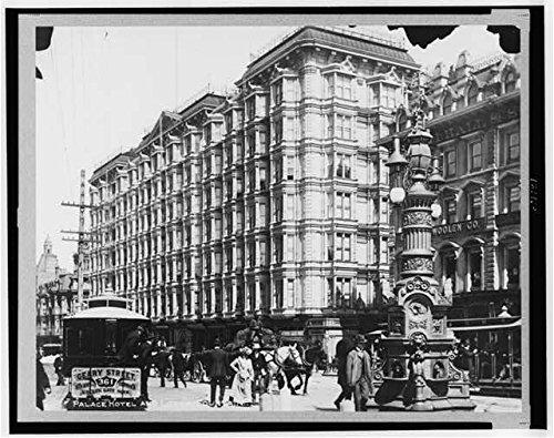 Infinite Photographs Photo: Palace Hotel,Lotta Fountain,San Francisco,California,CA,c1900,Trolley Car,People