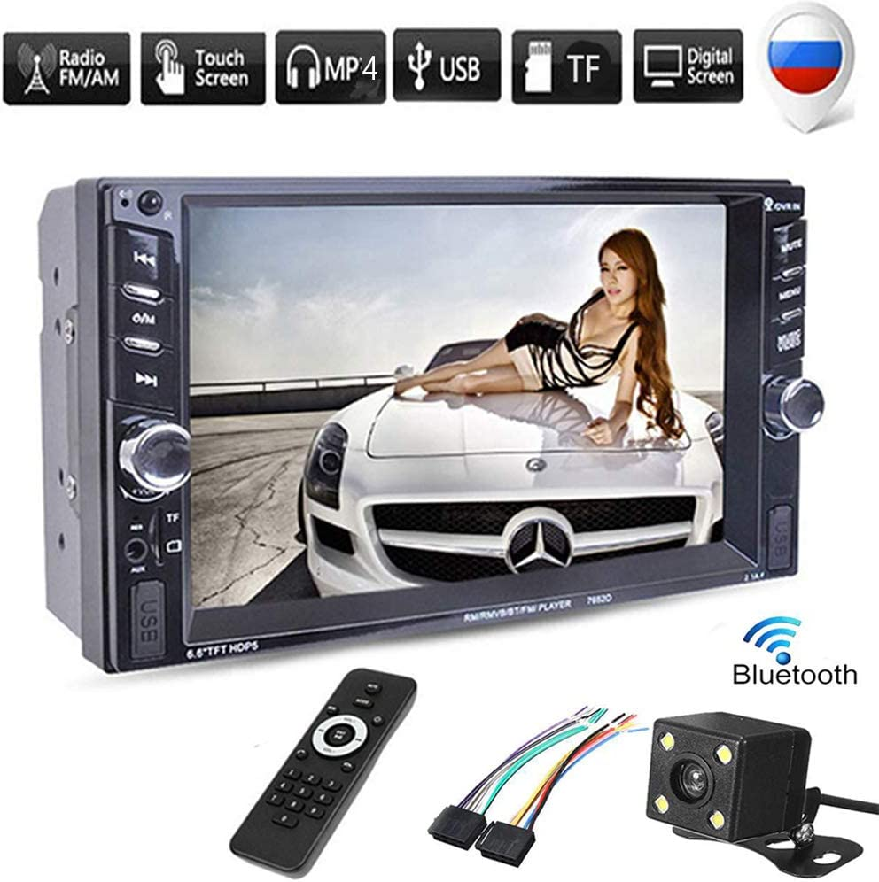 BOOMBOOST 6.6 Touch Bluetooth 2 DIN Car Stereo Radio MP5 Player AUX//Remote//USB Head Unit car radio rear camera