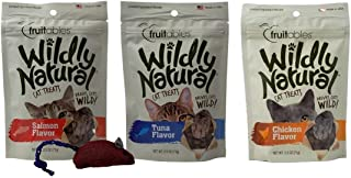 product image for Fruitables Wildly Natural Crunchy Limited Ingredient Cat Treats 3 Flavor Variety with Toy Bundle, (1) Each: Salmon, Tuna, Chicken (2.5 Ounces)