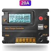 20A 12 V 24 V Controlador de Carga Solar Interruptor Automático LCD Panel Inteligente Regulador de Batería Regulador de Carga Protección de Sobrecarga Protección de Temperatura Compensación