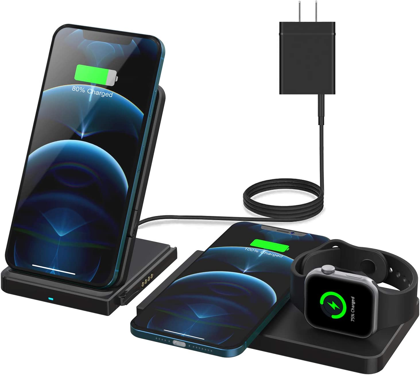 QI-EU Wireless Charger, 24W Fast Wireless Charging Station, Qi-Certified Detachable Charging Stand for Apple iWatch SE/6/5/4/3/2/1 Airpods Pro iPhone 12/12 pro/11/11 Pro/Se/8/X/XS