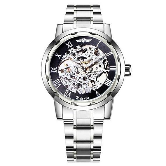 Winner - Relojes de Pulsera para Hombre, diseño de Esqueleto con números Retro, Color Azul Marino: Amazon.es: Relojes