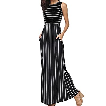 Wawer Vestido de verano para mujer, sin mangas, a rayas, con bolsillos,