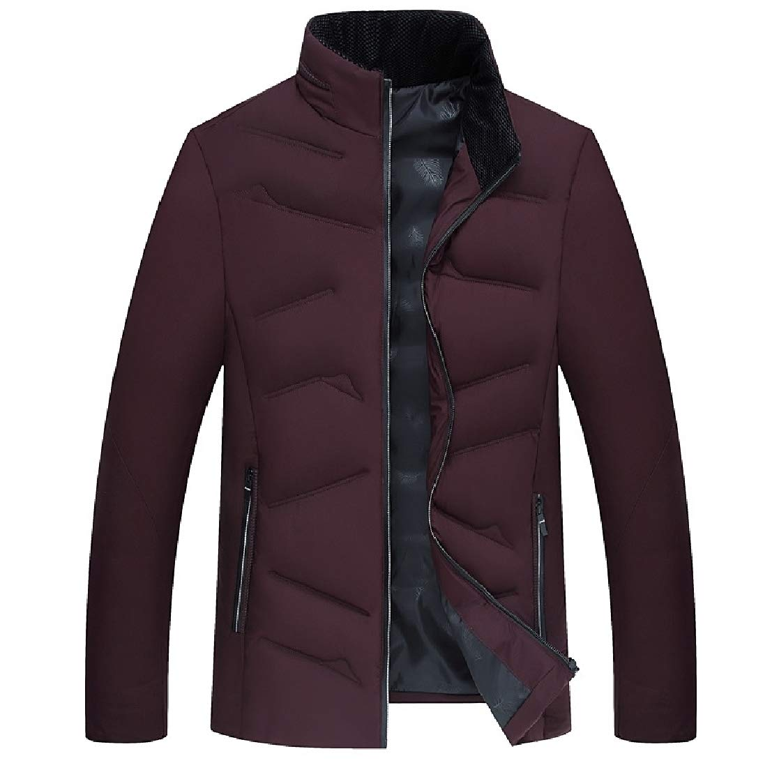 YUNY Mens Pockets Long Sleeve Zip Solid Stand Collar Oversized Puffer Jacket Wine Red 2XL