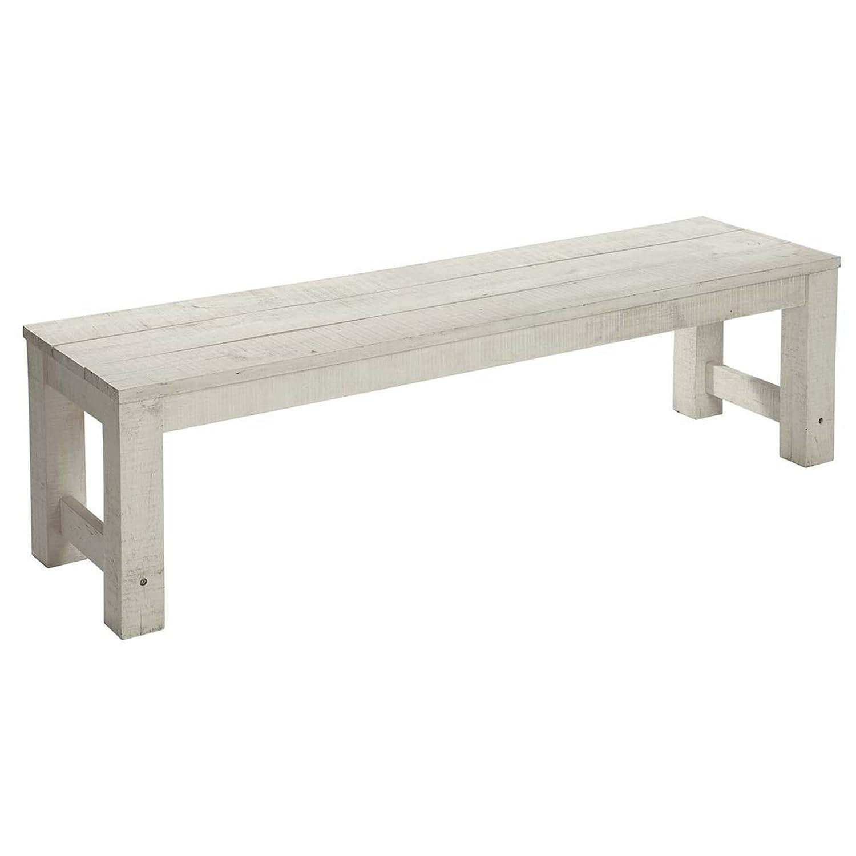 Sitzbank Lordi aus Akazienholz, weiß/grau, 165 cm lang