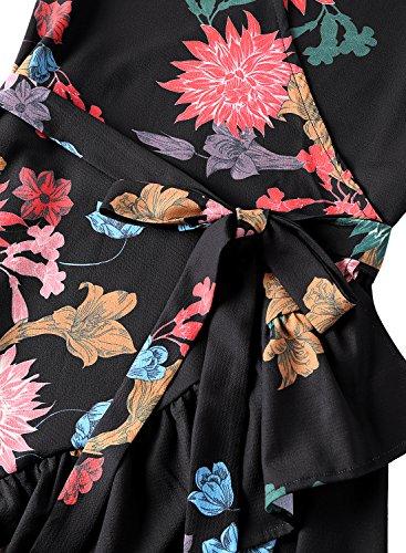 Cordons Fleur Robe Plage Ruffle BMJL t Bleu Floral Multicouleur qxHFwIUIC