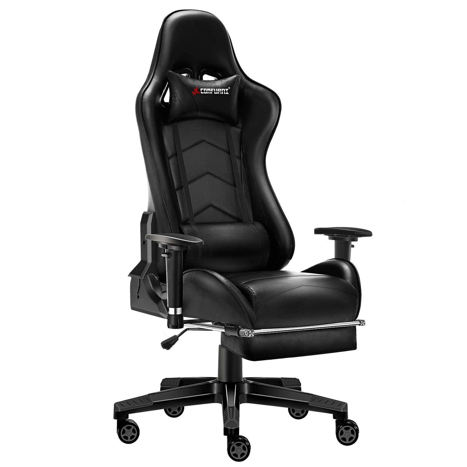 JL Comfurni Gaming Chair with Footrest Office Chair Reclining High-Back Ergonomic PU Leather Desk Chair Racing Swivel Computer Chair with Adjustable Headrest and Lumbar Support for Adults Black by JL Comfurni