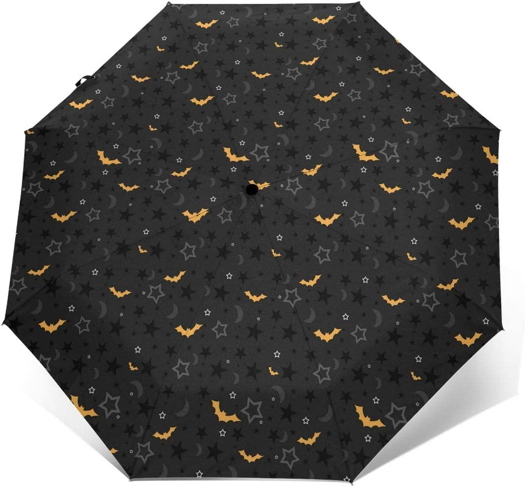 Travel Umbrella Black Folding Umbrellas With Halloween Bat Printed Printed