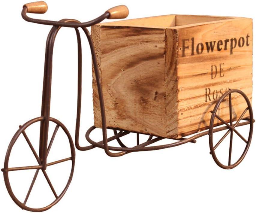 LQKYWNA Madera Retro Hierro Bicicleta Maceta De Flores Clásico Hecho A Mano Triciclo Almacenamiento Decoración De Arte Artesanía Escritorio Pastoral Adornos para El Jardín De Su Casa (Brown)