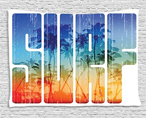 (Ambesonne Surf Tapestry, Summer Surf Retro Letters That Reflect The Seacoast with Palm Tree Extreme Sports Art, Wide Wall Hanging for Bedroom Living Room Dorm, 60