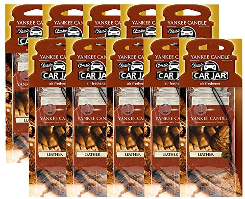 Yankee Candle Car Jar Leather Air Freshener (10 Pack)