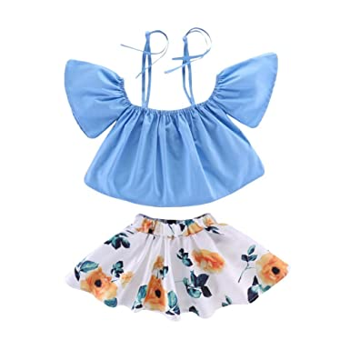 cad613f67f5e Amazon.com  Baorong Baby Girl Blue Strap Off-Shoulder Tops Floral ...