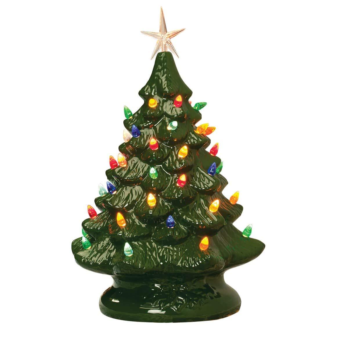 14 Retro Prelit Ceramic Tabletop Christmas Tree With 52 Multicolored Lights Green