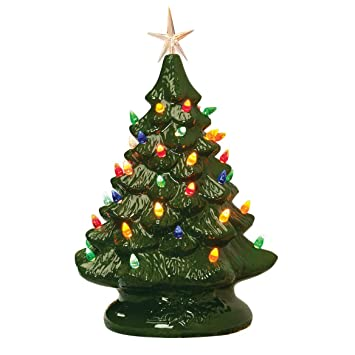 Christmas Tree.14 Retro Prelit Ceramic Tabletop Christmas Tree With 52 Multicolored Lights Green