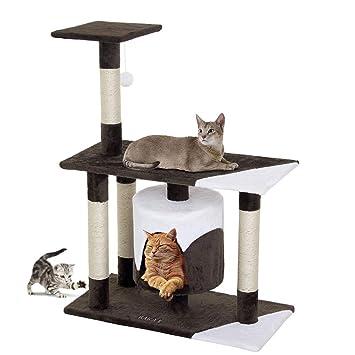 BAKAJI árbol rascador para Gatos de sisal y Peluche Parque de Juegos Gato con caseta escondite