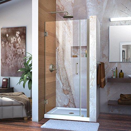DreamLine Unidoor Min 34 in. to Max 35 in. Frameless Hinged Shower Door in Brushed Nickel finish, SHDR-20347210-04
