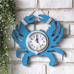 DJYJX Wall Clock,Living Room Wall Clock,Home Wall Clock,Vintage Wall Clock,Fashion Wall Clock,Wooden Crab Wall Clock Handmade Old Home Decoration Wall Decoration Pendant Watch 30CM