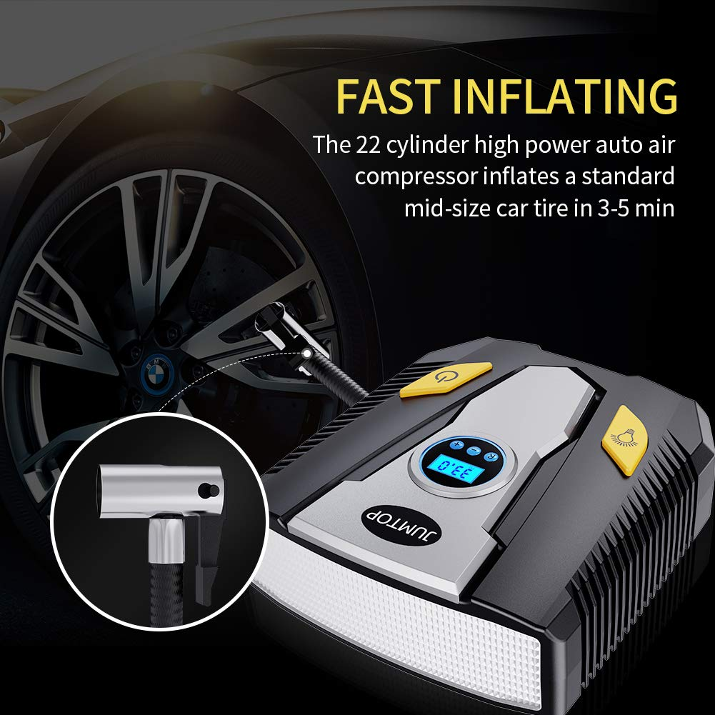 Bicycle or Basketballs 150 Psi Electric Portable Air Compressor Pump with Gauge for Car JUMTOP 12V DC Digital Tire Inflator Pump Truck Air Bed Mattress and Other Inflatables