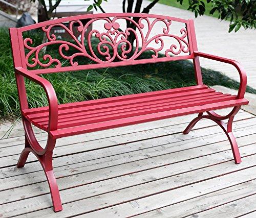 Merax Classic Outdoor Garden Bench , Patio Park Chair, Red