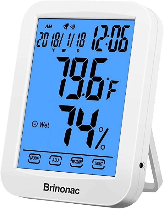 RINKMO Temperature and Humidity Monitor Digital Hygrometer Thermometer Humidity Gauge Sensor Indoor Room Thermometer Barometer Humidistat Meter Outdoor Wall Desktop Wireless Home
