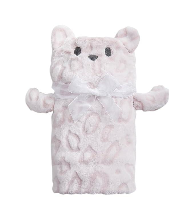 Paden Bear Pale Pink Animal Print 24 x 36 Childrens Plush Toddler Blanket