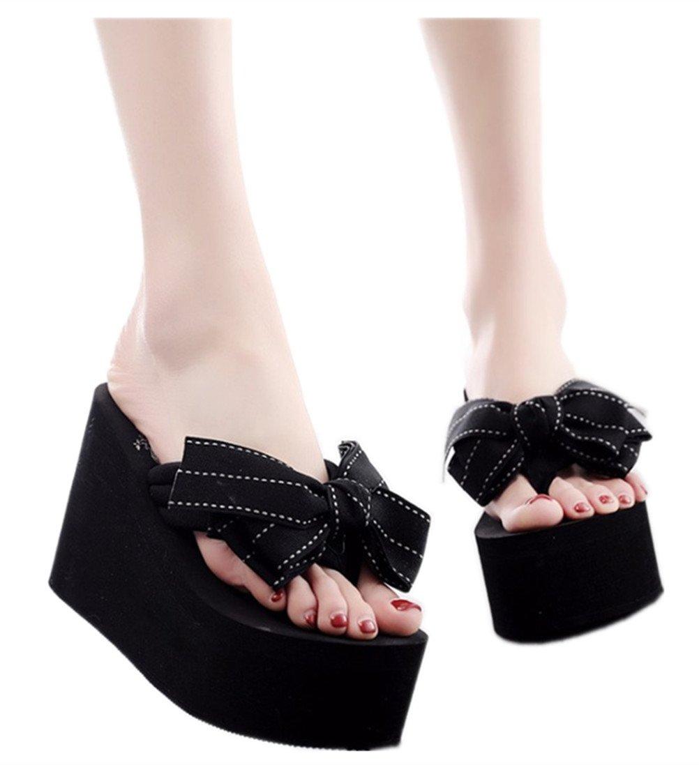 Mamilove Womens Chunky High Platform Wedge Flip-Flops Sandals 7.5 Black