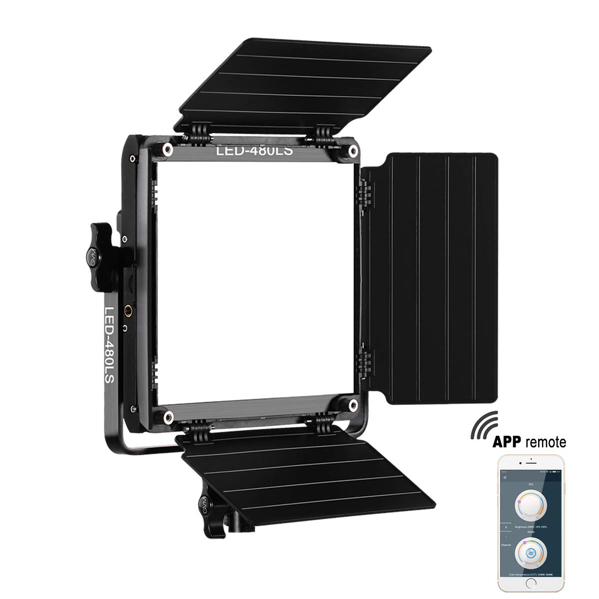 GVM Led Bi-Color Video Lights with APP Function, Variable CCT 2300K-6800K and 10%-100% Brightness with Digital Display for Video Studio Shooting, CRI97+ TLCI97 Led Light Panel +Barndoor by GVM Great Video Maker