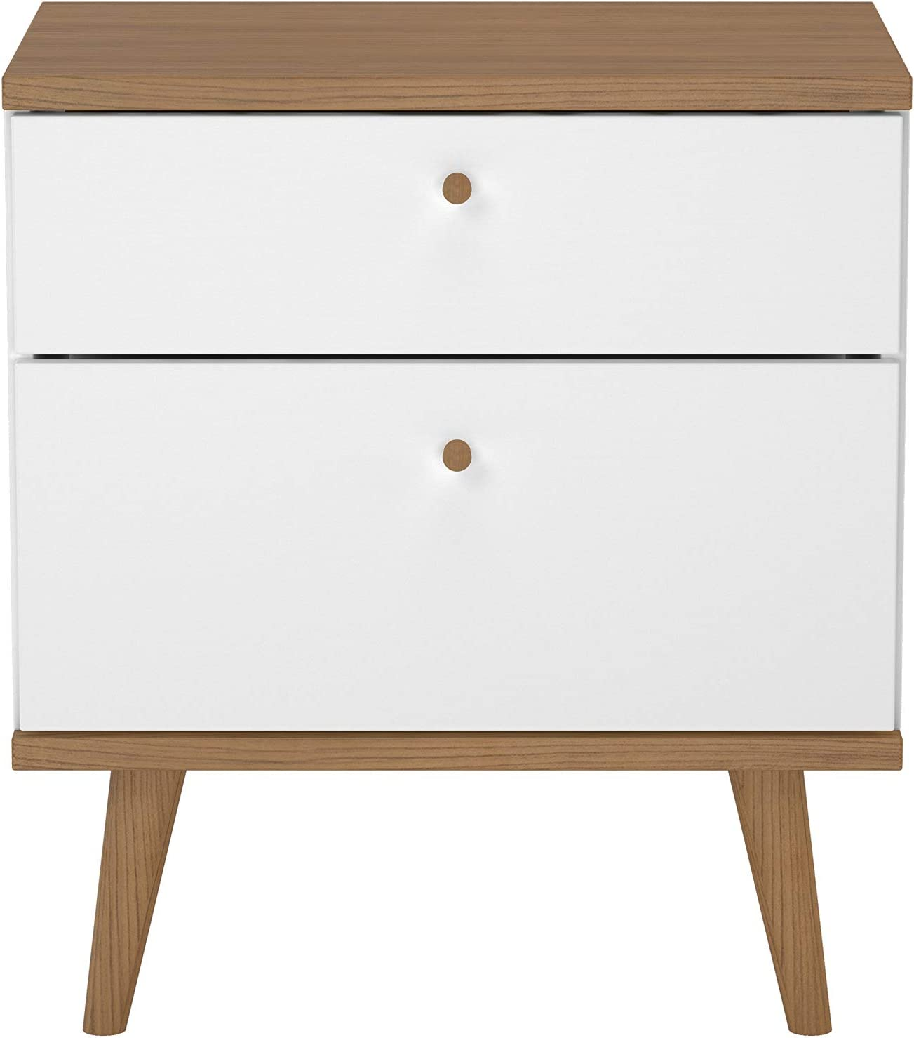 2-Drawer Wood Nightstand White//Brown Nathan James 32702 Harper Mid-Century Side Table