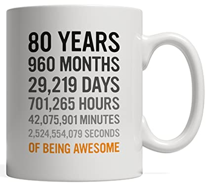 80th Birthday Gift 80 Eighty Years Old Months Days Hours Minutes