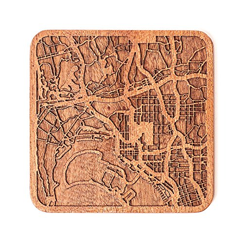 San Diego, CA Map Coaster by O3 Design Studio, 1 piece, Sapele Wooden Coaster With City Map, Handmade, Multiple city optional for $<!--$6.59-->
