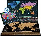 detailed map of usa - Scratch Off World Map + Premium Scratch Off USA Map - Personalized Gift Pack and Detailed Maps with Capital Cities, Vibrant Colors, Hidden Iconic Landmarks, World Wonders, Outlined US States and all C