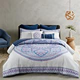 Urban Habitat Coletta Comforter Set Full/Queen Size Bed in A Bag - Purple, Bohemian Medallion – 7 Piece Bed Sets – 100% Cotton Teen Bedding for Girls Bedroom