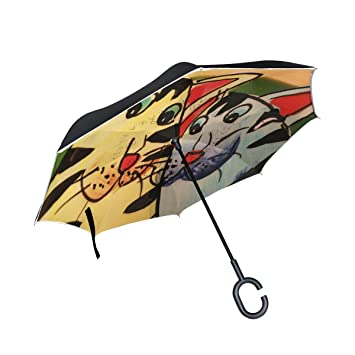 isaoa un paraguas grande puede paraguas resistente al viento doble capa construcción invertido plegable paraguas para ...