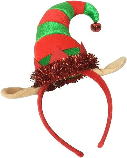 cuernos y gorro de elfo de Navidad tocado de reno tama/ño universal para el pelo de Navidad 4 piezas de diademas de Navidad para fiestas de Navidad