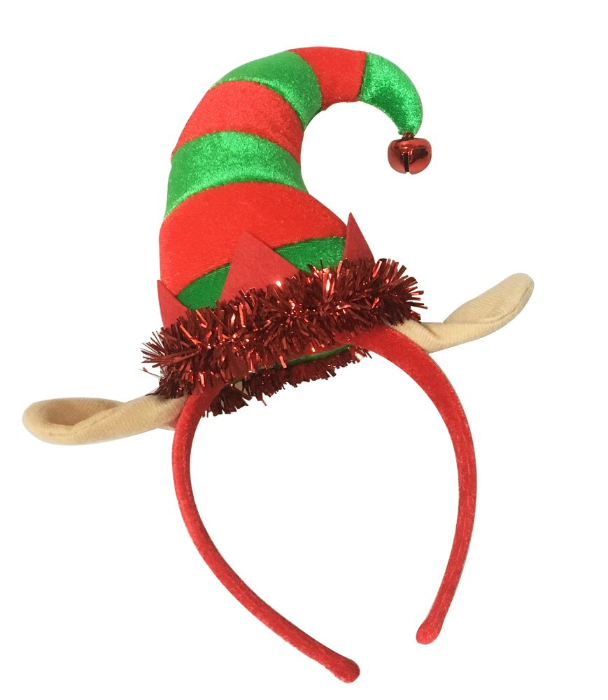 ADJOY Christmas Elf Hat Headband for Kids Adult Girls One Size Fits Most
