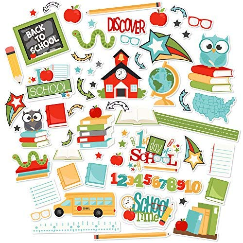 Paper Die Cuts - Back to School - Over 60 Cardstock Scrapbook Die Cuts - by Miss Kate -