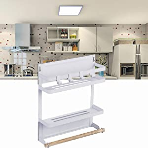 IDEAMAX Foldable Refrigerator Organizer 3 Tier Magnetic Fridge Spice Rack Paper Towel Holder Multi-purpose Kitchen Storage Organizer Shelf with Wooden Holder Rustproof Spice Jars Holder Medium & White