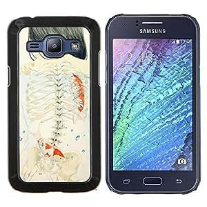 Profundo Chica Emo Significado Arte- Metal de aluminio y de plástico duro Caja del teléfono - Negro - Samsung Galaxy J1 / J100