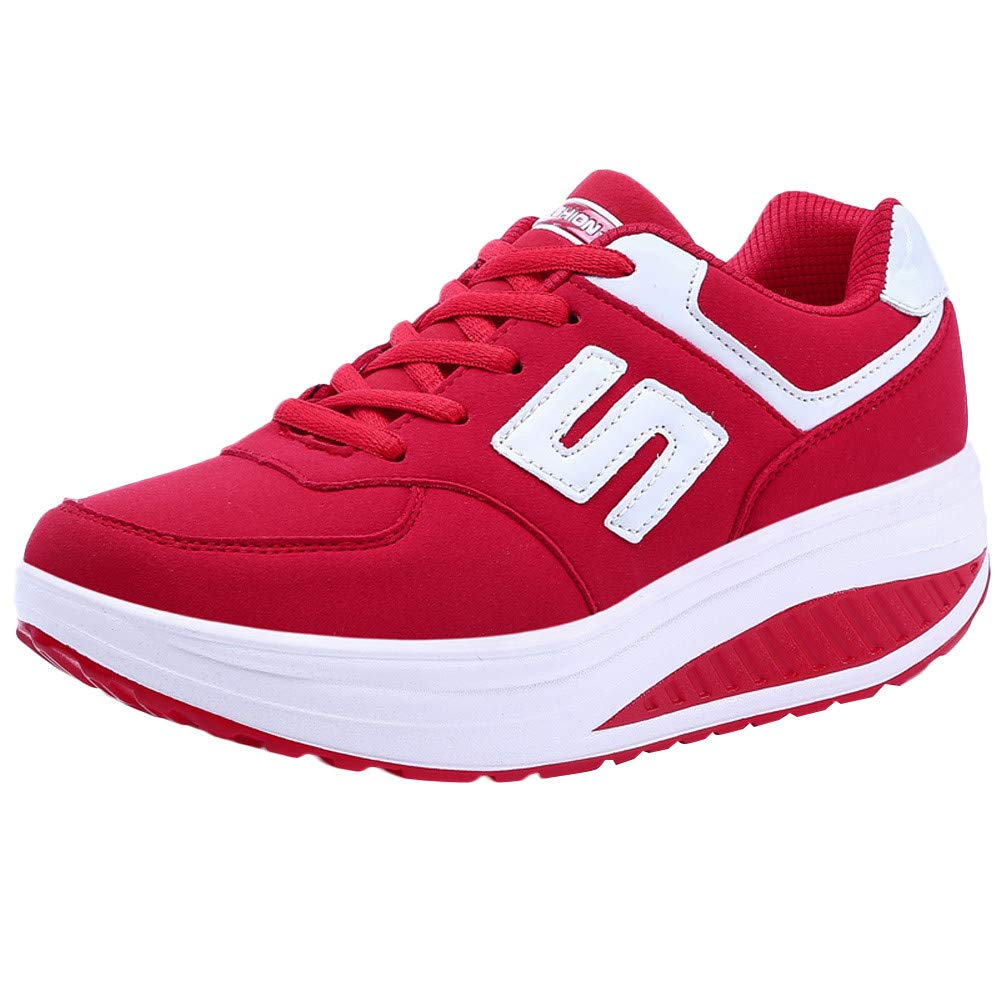 for Shoes,AIMTOPPY Womens Casual Leather Breathable Sneakers Round Toe Thick Bottom Sport Shoe