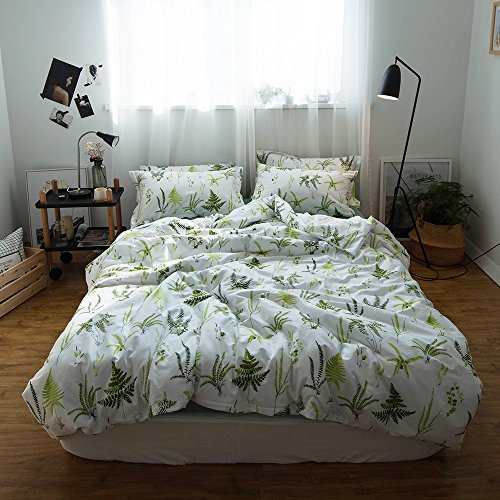 41b7045cf2 chic EAVD 100% Cotton Bedding Set Green Leaf Reversible Kids Adult 3PCS  Printing Leaves Duvet Cover Soft With 2 Pollowcases