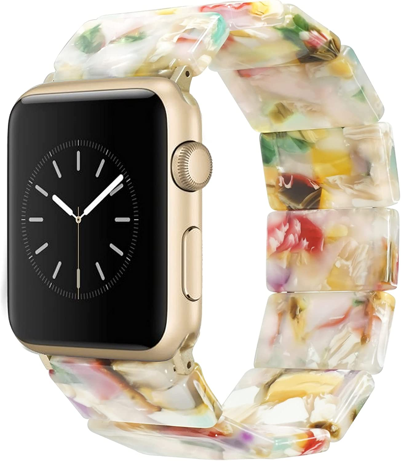 Heesch Compatible with Apple Watch Band for Women Tortoise Resin Elastic Watch Band Bracelet for iWatch SE Series 6/5/4/3/2/1, Girls Stretchy Fashion Dressy Jewelry Fancy Wristband for iWatch 38/40mm, 42/44mm