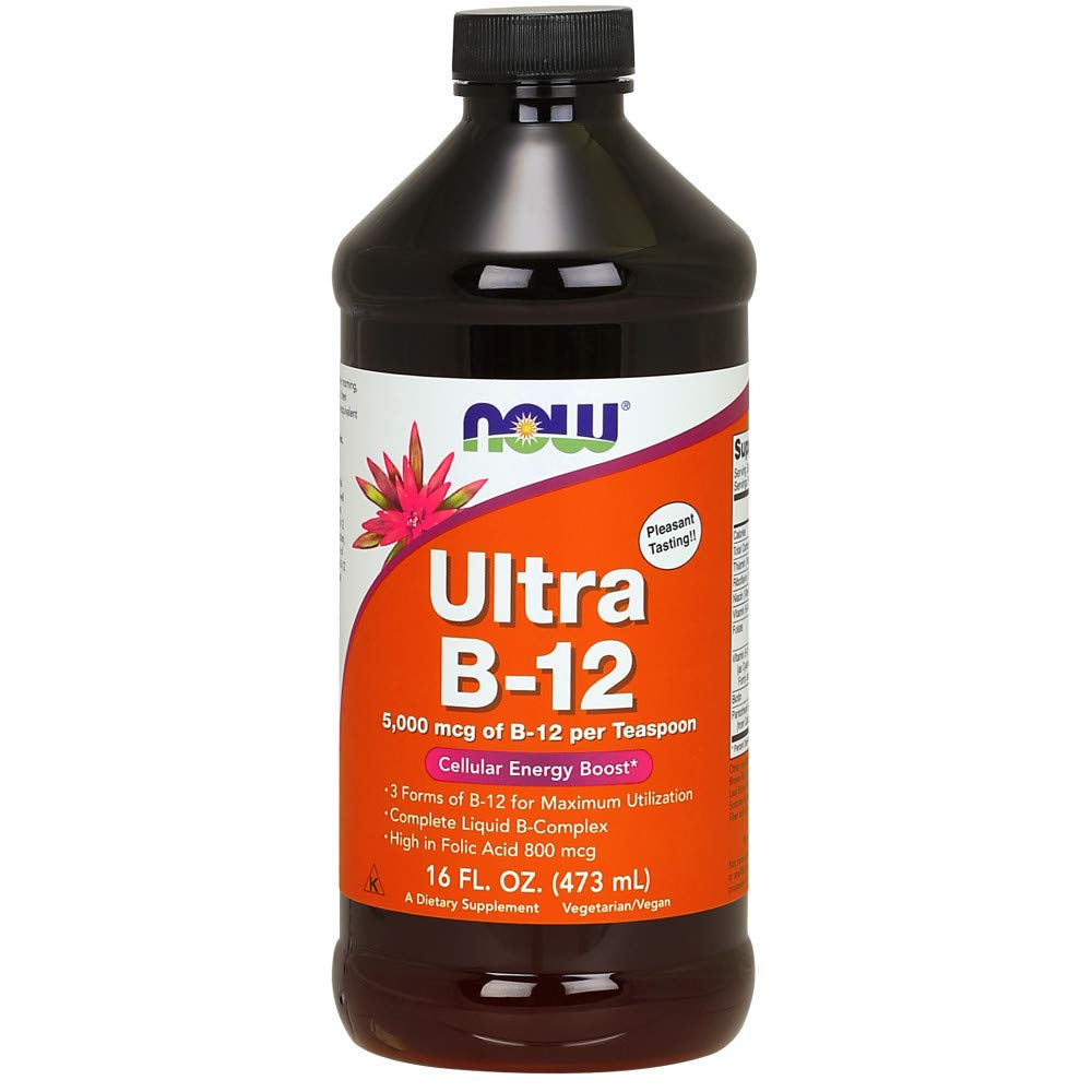 NOW Supplements, Ultra B-12 Liquid, 800 mcg Folic Acid, 16-Ounces