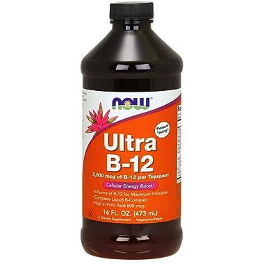 NOW Supplements, Ultra B-12 Liquid, 800 mcg Folic Acid, 16-Ounces
