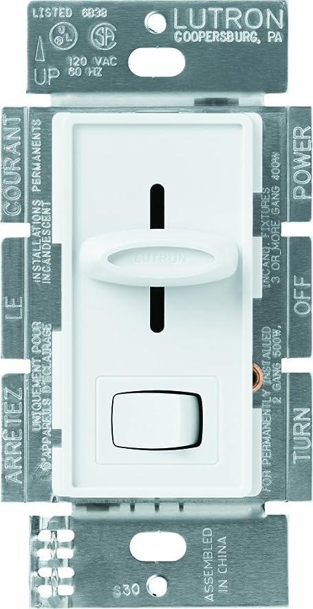 Lutron S-600P-WH 600-Watt Skylark Single-Pole Dimmer, White - Wall ...