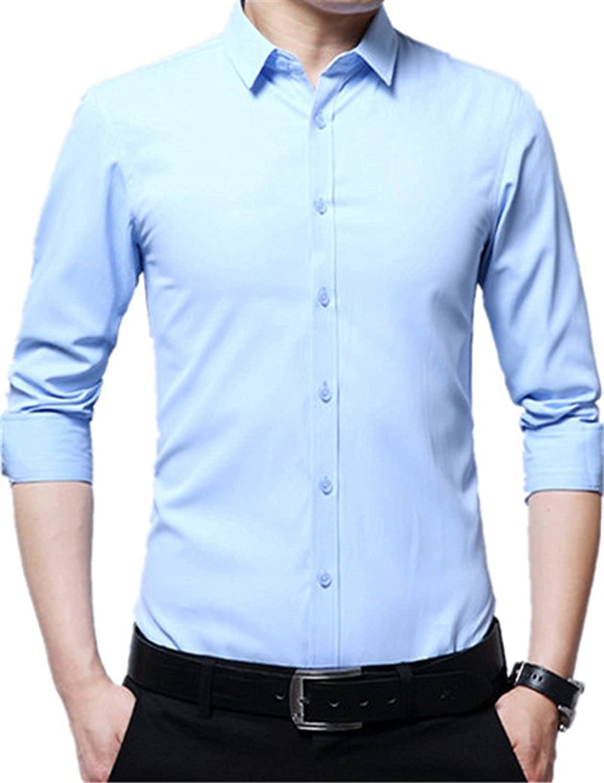 Shining4U Men Casual Pink Tops Plus Size M-4XL Solid Color Autumn Fashion Man Cotton White Dress Shirts Long Sleeve Clothing