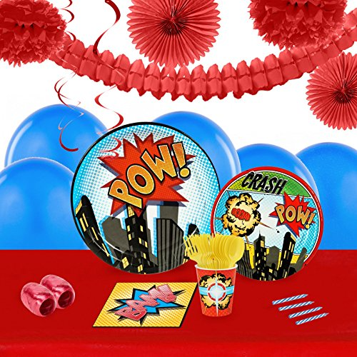 Superhero Comics Party Supplies - Tableware and Decoration Party Pack for 16 Guests